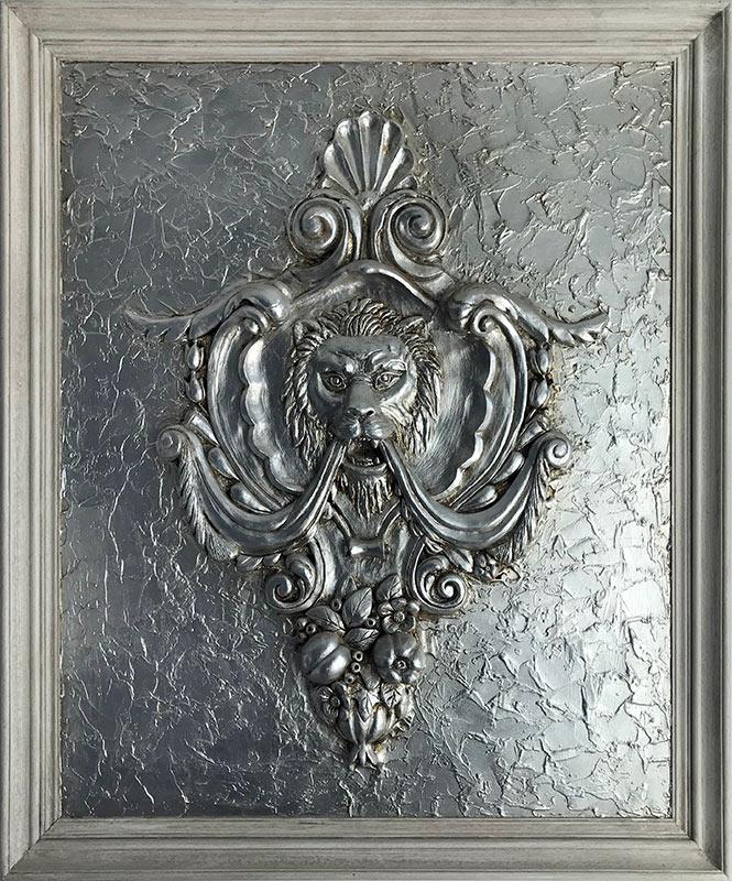 cuadro clasico en relieve y plata