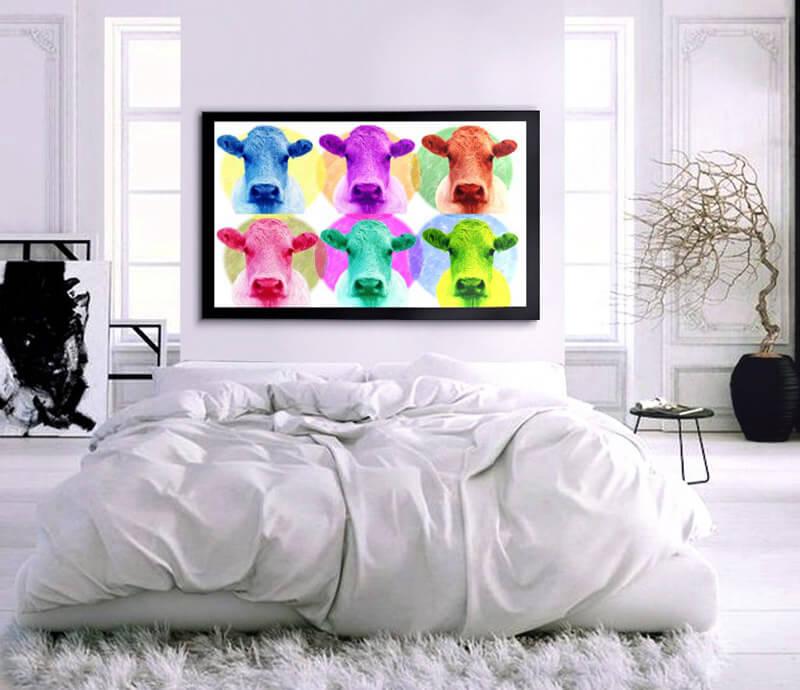 estudio delier cuadro pop art vacas 130x80