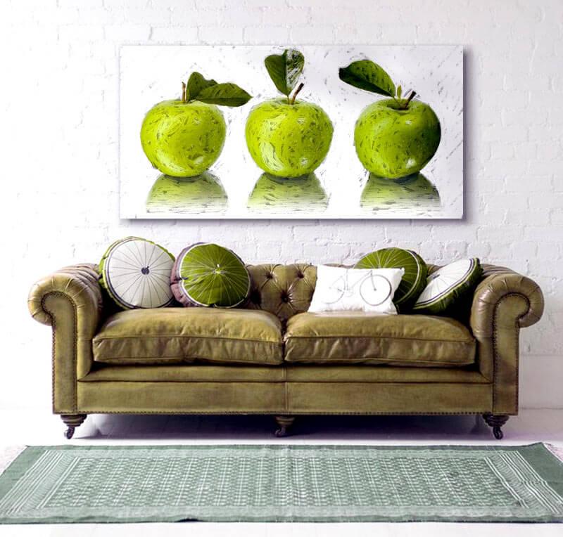 Estudio delier cuadro manzanas 120x60 for Cuadros comedor originales