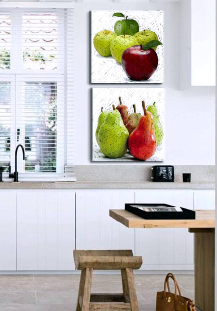 Estudio delier cuadro manzanas 50x50 Cuadros tripticos modernos para comedor