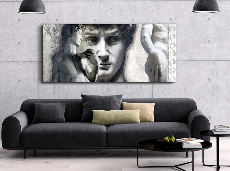 Estudio delier cuadro david horizontal for Cuadros para salones grises