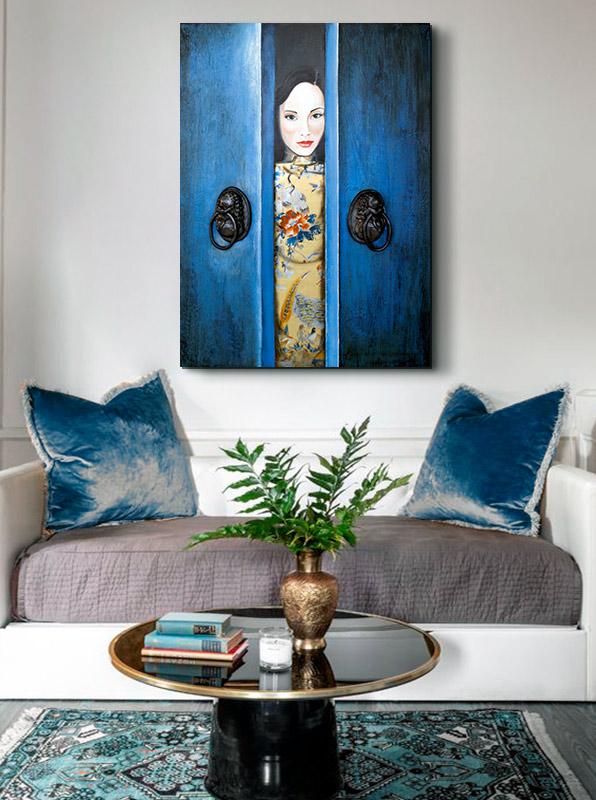 cuadros orientales azules