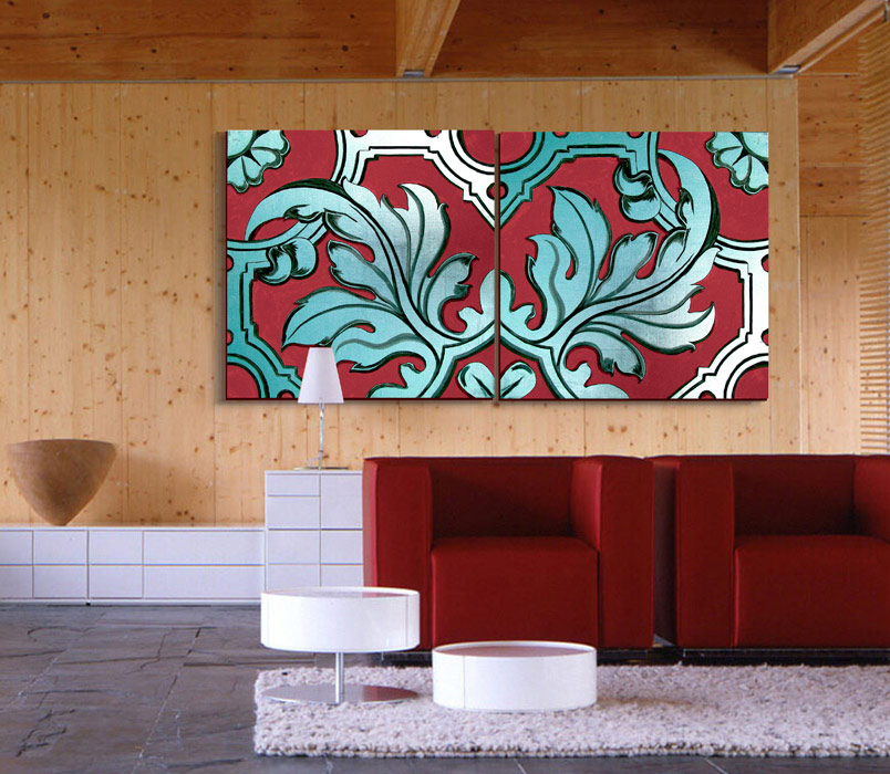 cuadros bonitos para sofa rojo