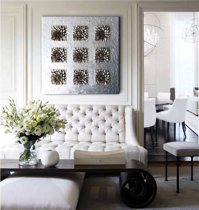 Estudio delier cuadro 9 nenufar plateado for Cuadros decorativos clasicos