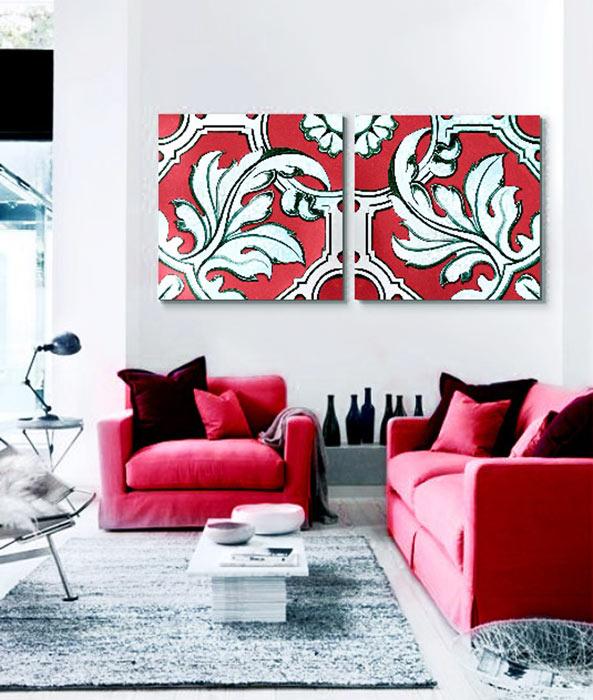 decoracion cuadros rojos
