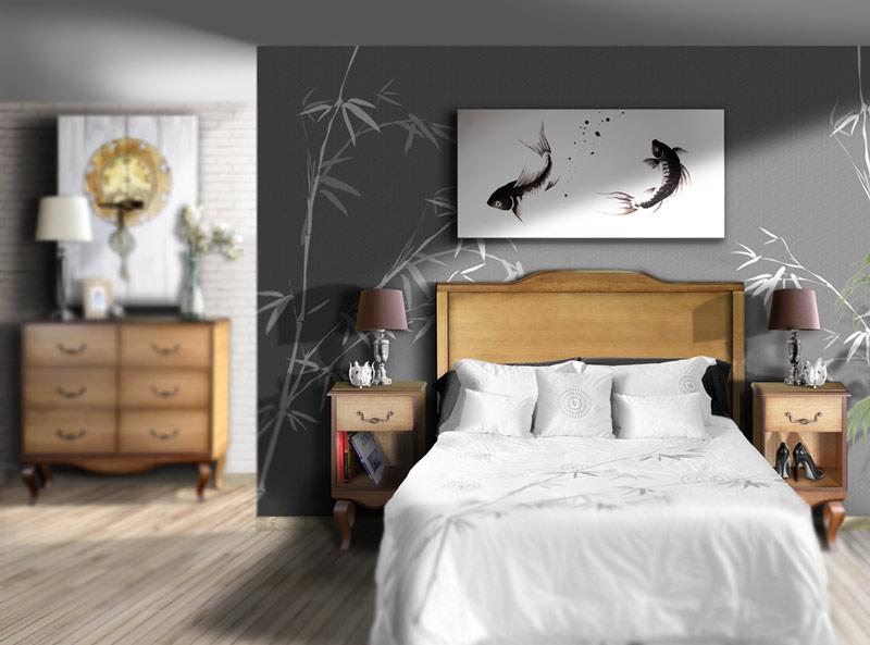 estudio delier cuadro carpas zen n 125x60cm