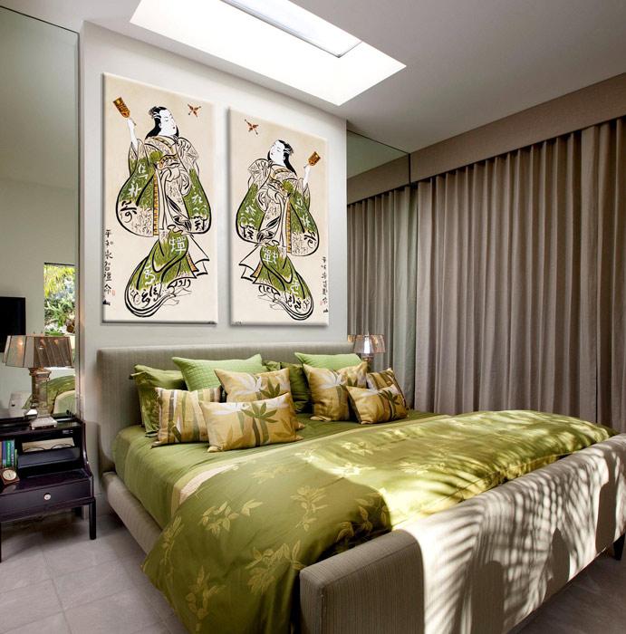 Estudio delier cuadro geisha 1 125x60cm for Dormitorio zen decoracion