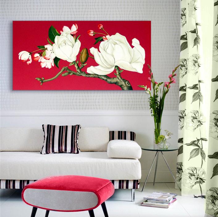 Estudio delier cuadro flores magnolios 160x80 for Cuadros feng shui para comedor