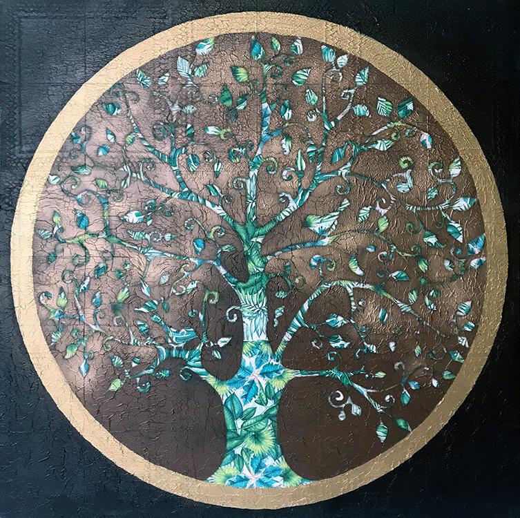 cuadro arbol de la vida pintado a mano