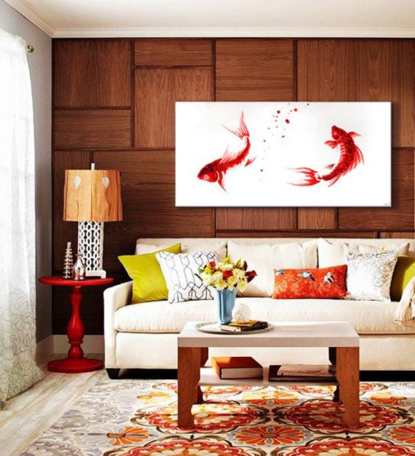 cuadros para el sofa feng shui