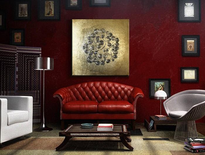 cuadros de oro para sofas