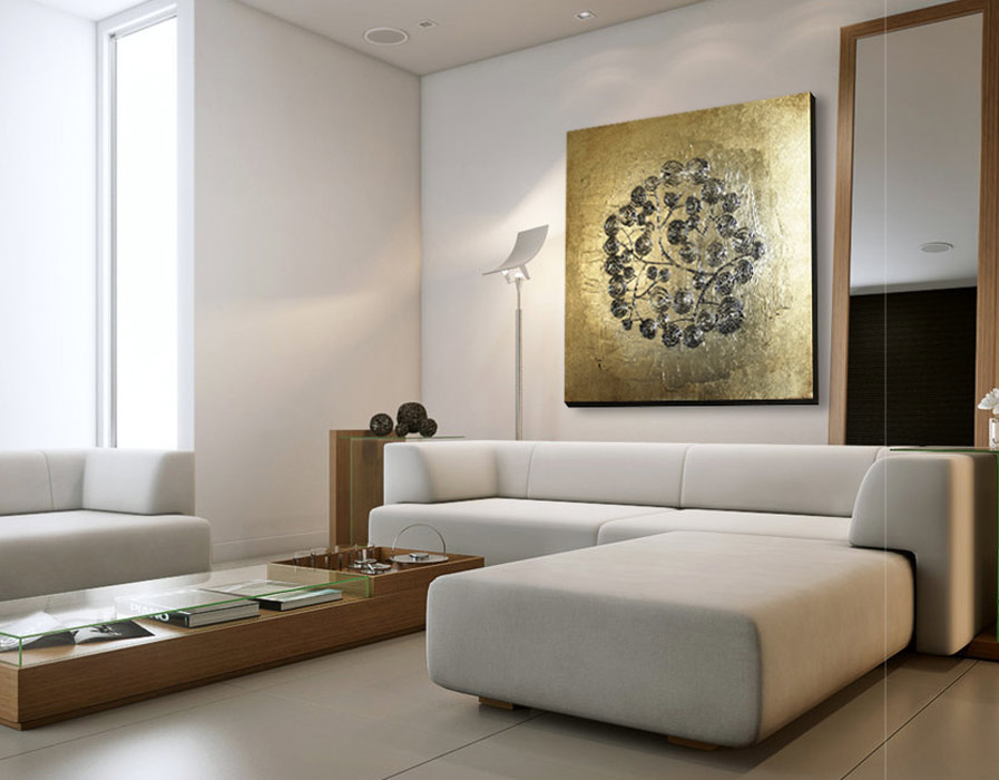 cuadros color oro pra sofas