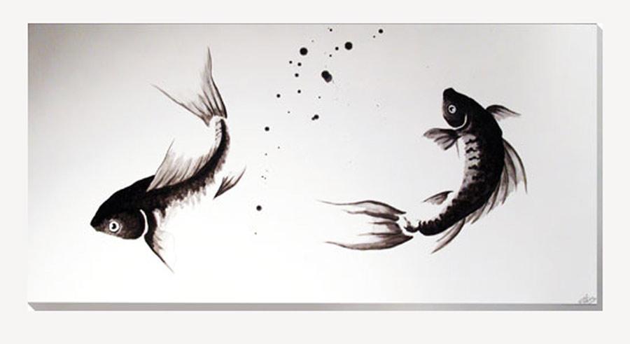 Estudio delier cuadro carpas zen n 125x60cm - Cuadros con peces ...