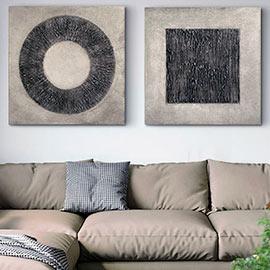 cuadros modernos para el sofá o salón comedor, cuadros de estilo contemporáneo originales y pintados a mano, en color plata y tonos viejos de grises