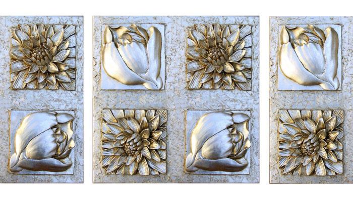 Estudio delier cuadro triptico clasico jardin for Cuadros decorativos clasicos