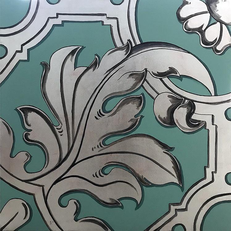 cuadros clasicos en plata y verde