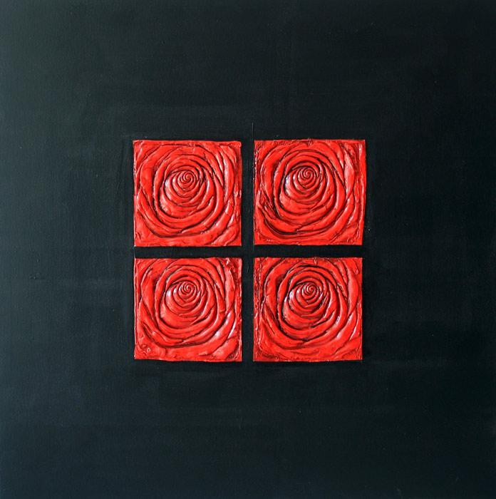 cuadros en rojo y negro