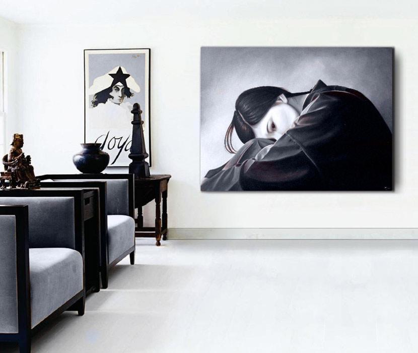 Estudio delier cuadro zen relajaci n 120x90cm - Dormitorios blanco y negro ...