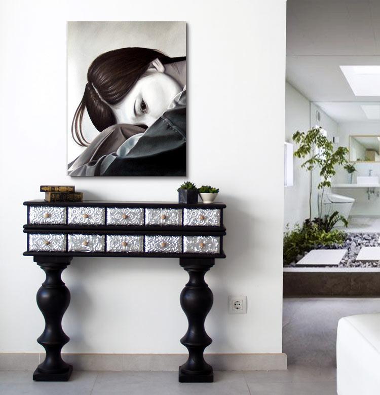 muebles consolas entraditas negras y plata