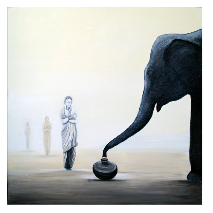 cuadros de budas elefantes