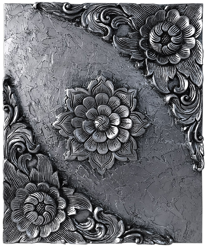 cuadro de flores en relieve plata