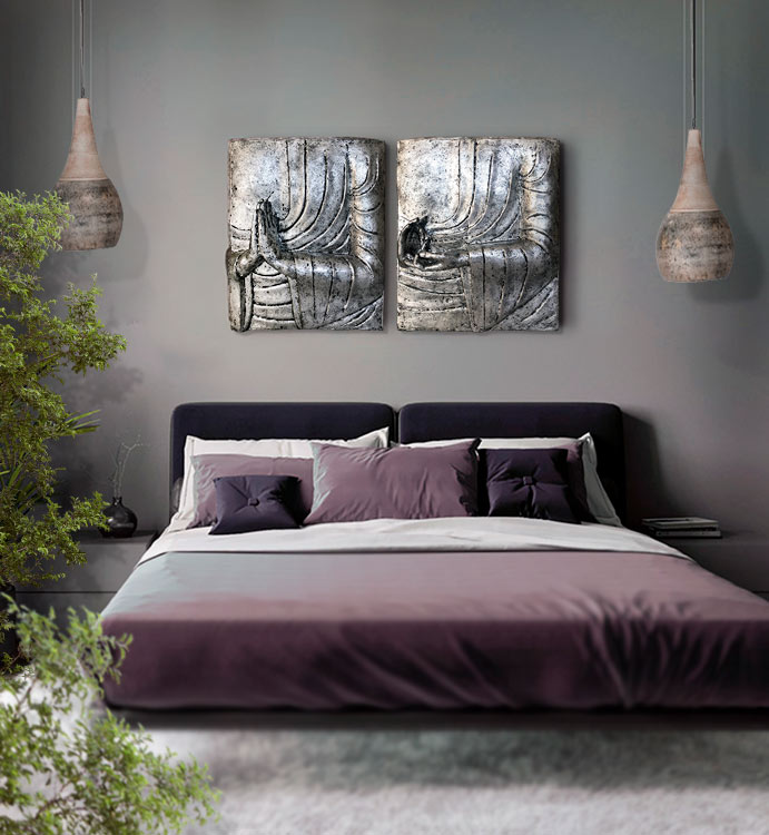 cuadros plateados dormitorio