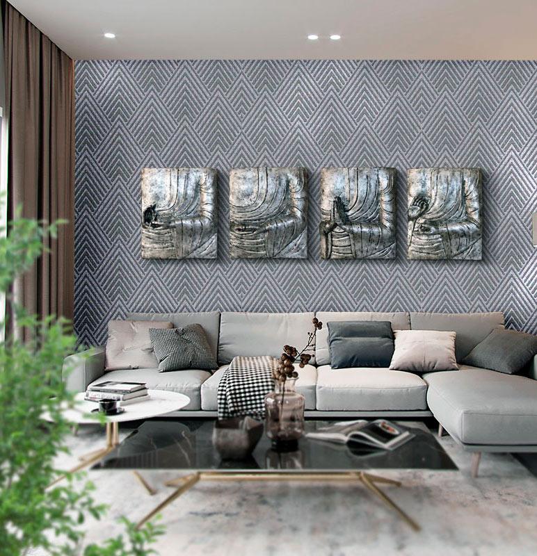 cuadros plateados para sofa