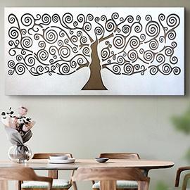 Cuadro árbol de la vida en color blanco formato horizontal para decorar encima del sofá o como cabecero, si te gusta puedes verlo en tienda
