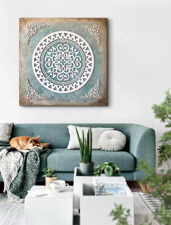 cuadros mandalas sofás