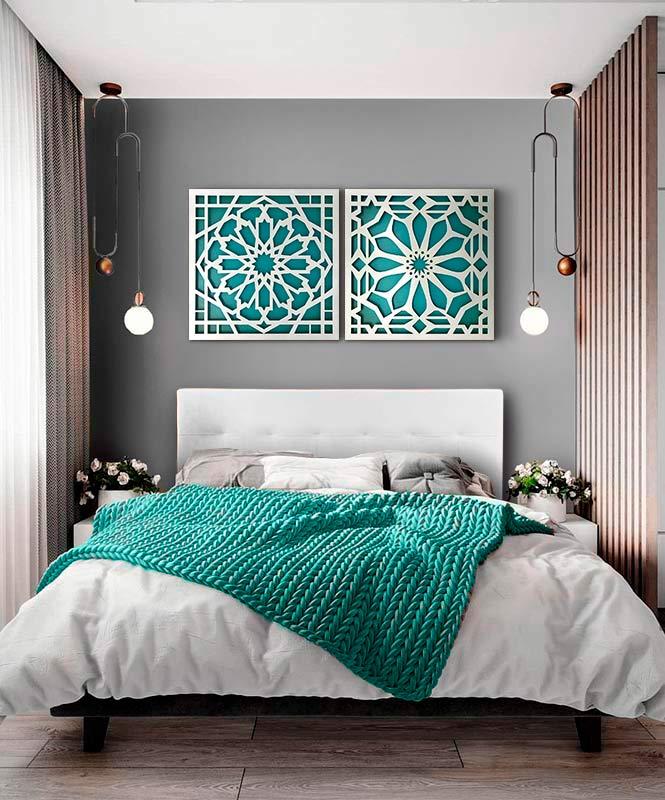 cuadros en turquesa para el dormitorio