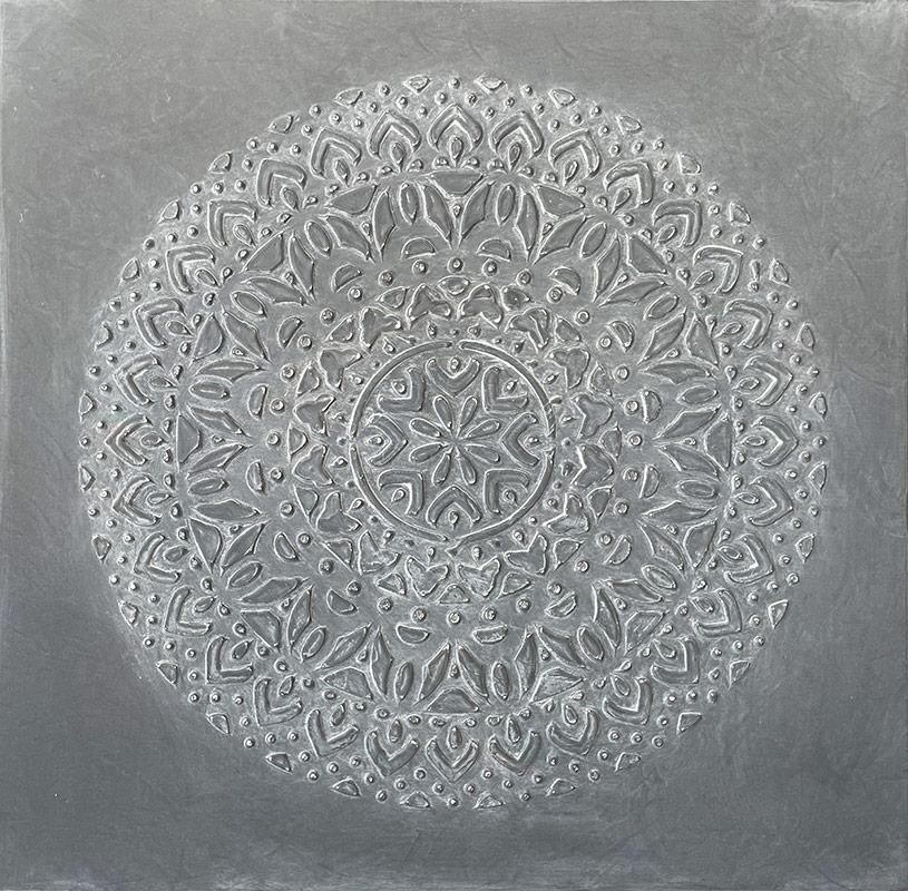 cuadros mandalas en gris relieve
