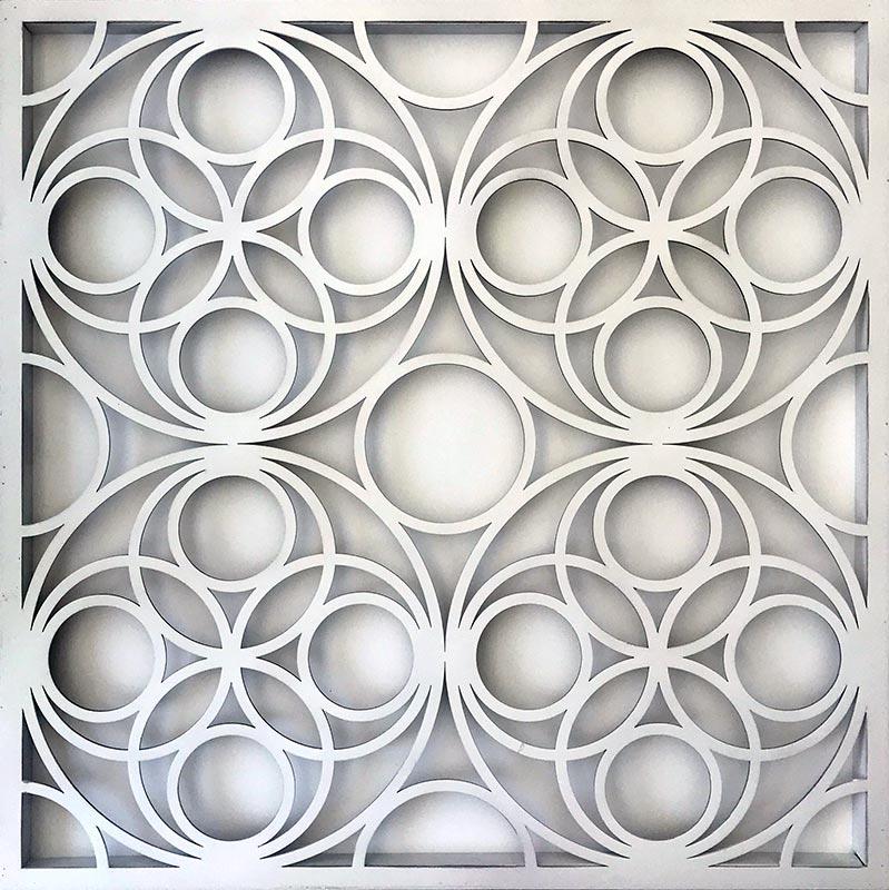 Cuadro Mandala círculos blanco