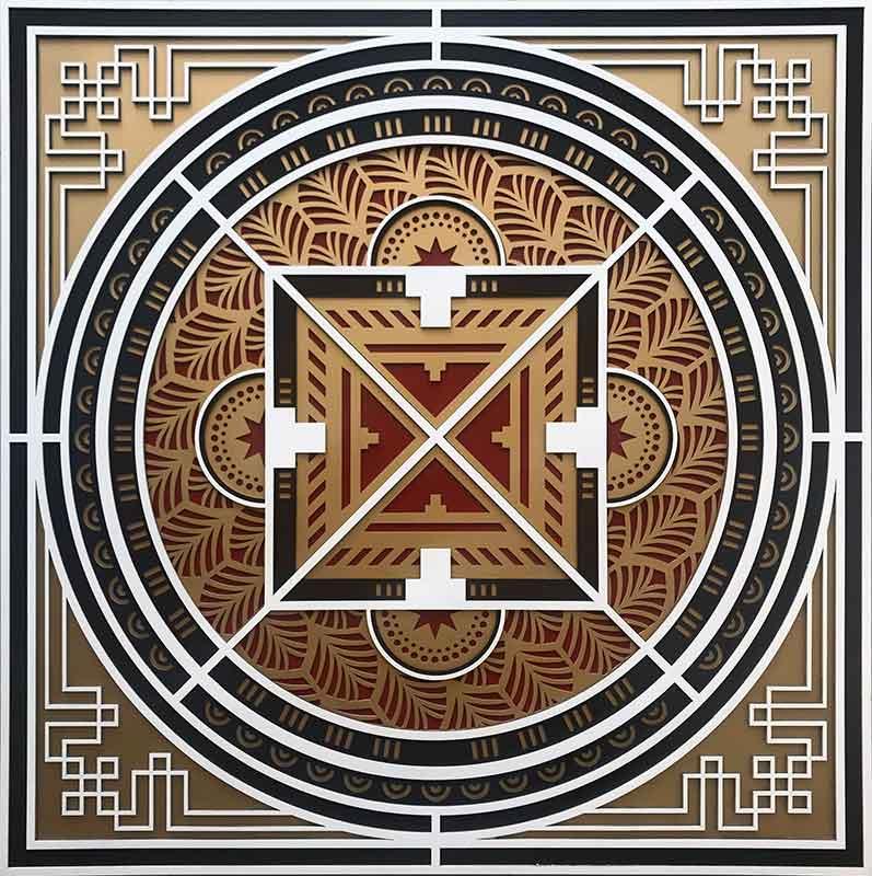 cuadros mandalas en relieve madera