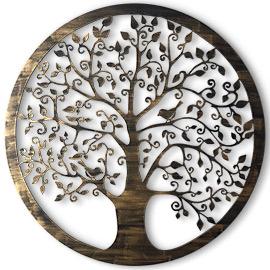 cuadros del árbol de la vida para decorar el salón, dormitorio, este cuadro rosetón esta pintado a mano en color oro o plata a pincel seco
