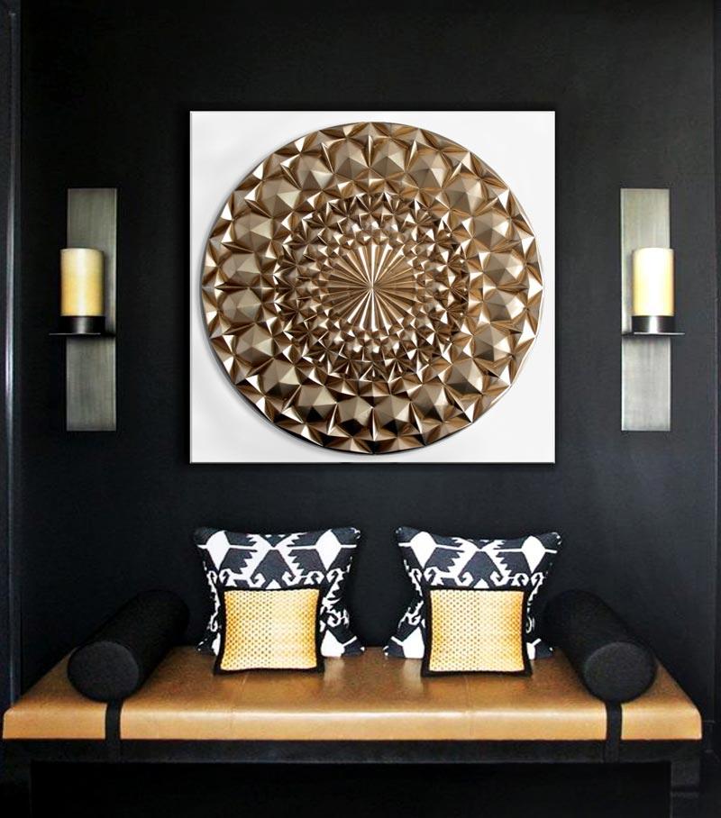 cuadros modernos para salon dorado