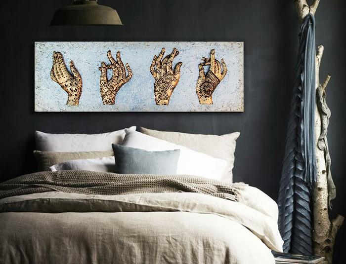 Estudio delier cuadro plateado manos henna - Cuadro cabecero ...