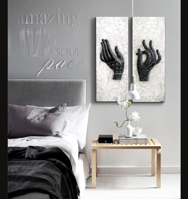 Estudio delier diptico cuadro manos henna gris negro - Cuadros de dormitorios ...