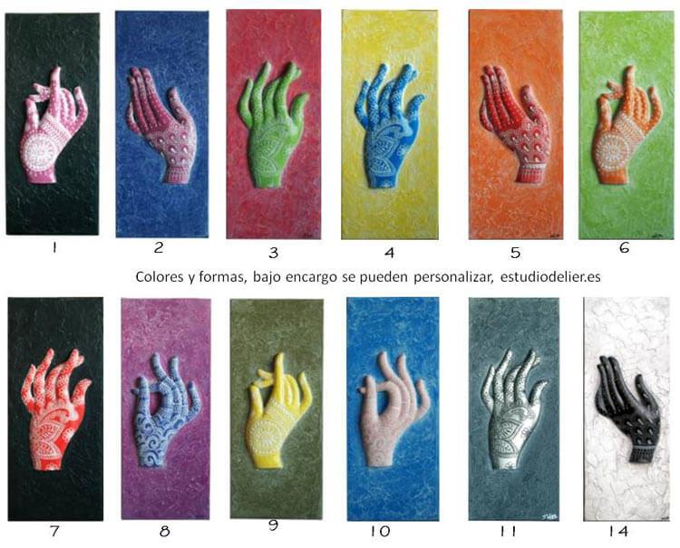 Estudio delier cuadro manos henna colores - Cuadros de colores ...