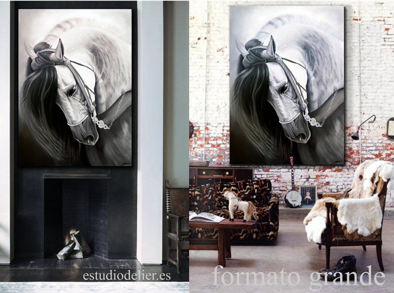 Estudio delier cuadro caballo blanco for Cuadros verticales grandes
