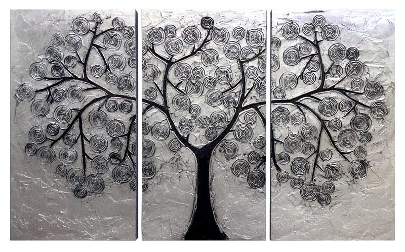 Estudio delier cuadro triptico arbol plata for Imagenes de cuadros abstractos rusticos