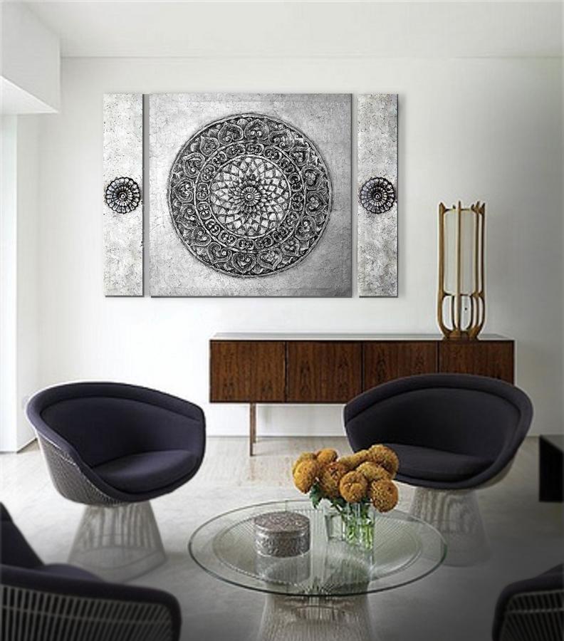 Estudio delier mandala zen triptico 140x100 cm - Cuadros originales para salon ...