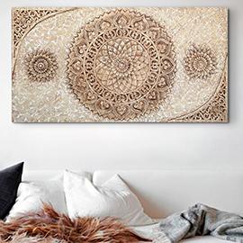 cuadros mandalas decorativos en relieve, original mandala en colores tierra símbolo de una mandala oriental, perfecto cuadro para decorar el salón, dormitorio, comedor....