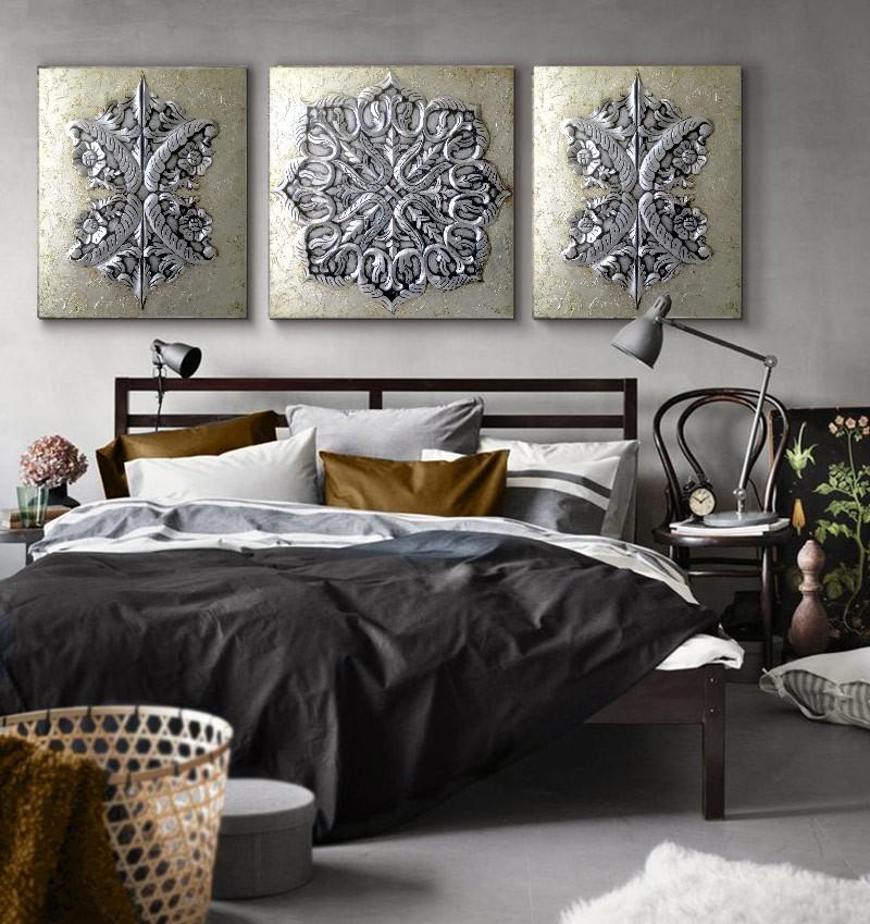 Estudio delier cuadro triptico mandalas roco for Cuadros decorativos clasicos