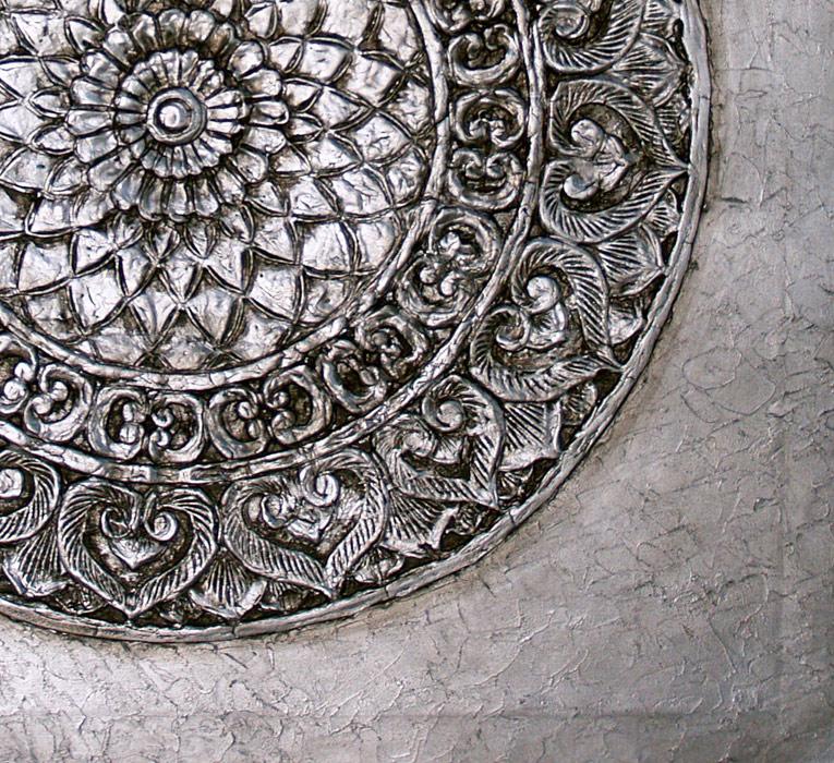 Estudio delier cuadro mandala roseton plata 100x100 - Cuadros mandalas ...