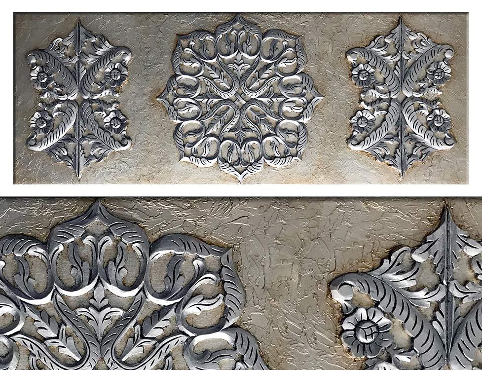 cuadros plateados mandalas relieve