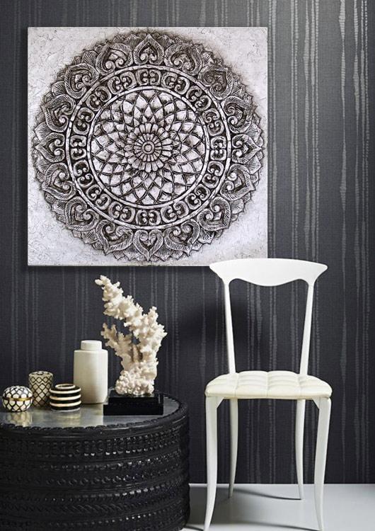 Estudio delier cuadro mandala plata 80x80 - Cuadros originales para salon ...