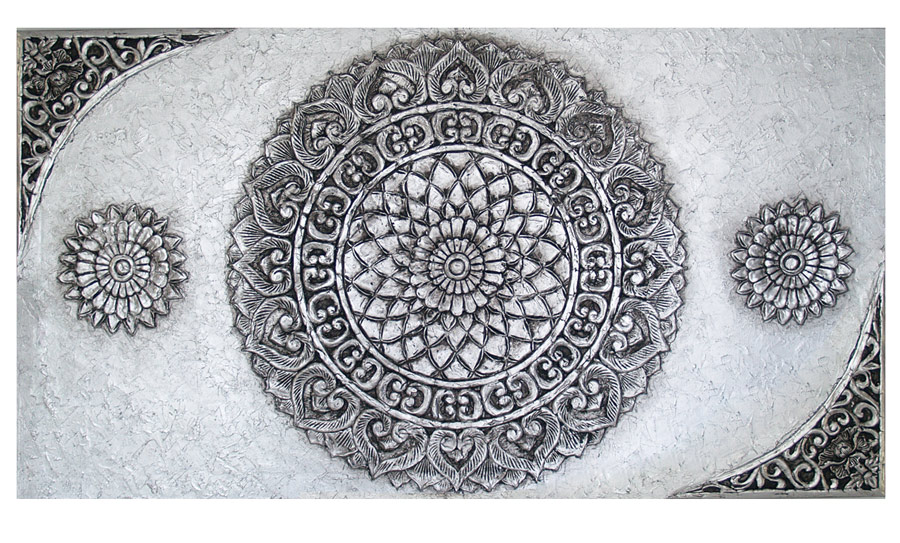 Estudio delier cuadro mandala plata y estuco 150x80 for Cuadros plateados baratos