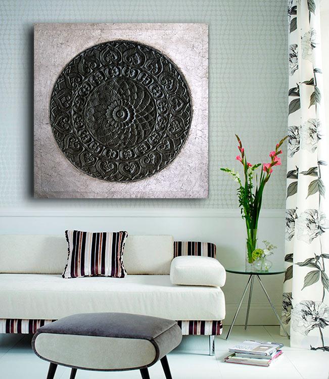cuadros plateados para el sofa