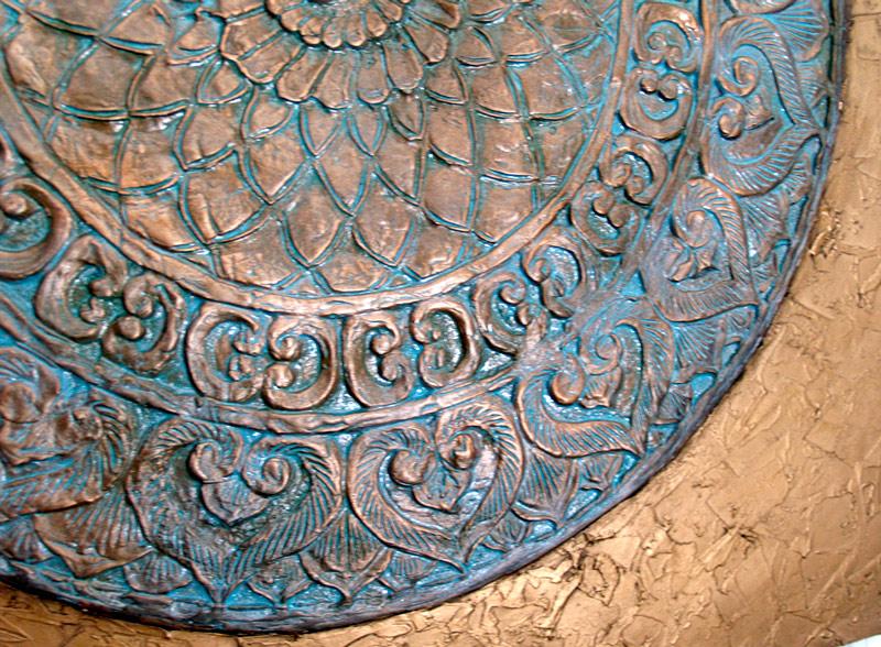 cuadros en relieve cobre bronce