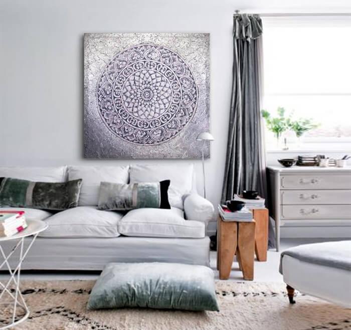 Estudio delier cuadro mandala plateado gris for Cuadros para salones grises